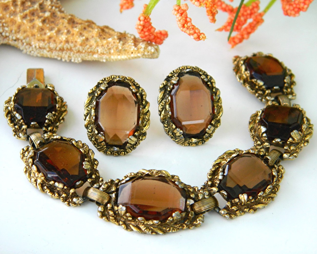 Vintage_link_bracelet_earrings_smoky_brown_quartz_demi_parure