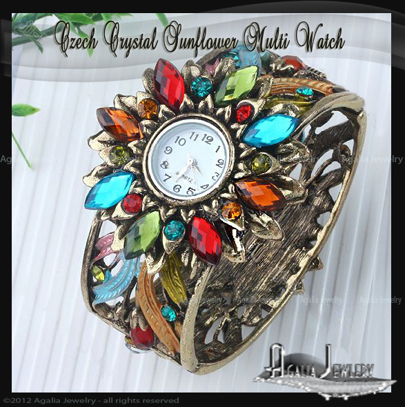 Czech Crystal  Sunflower Multi Bangle Watch