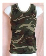 Medium Green Camouflage Tank Top Womens Sleevel... - $8.99