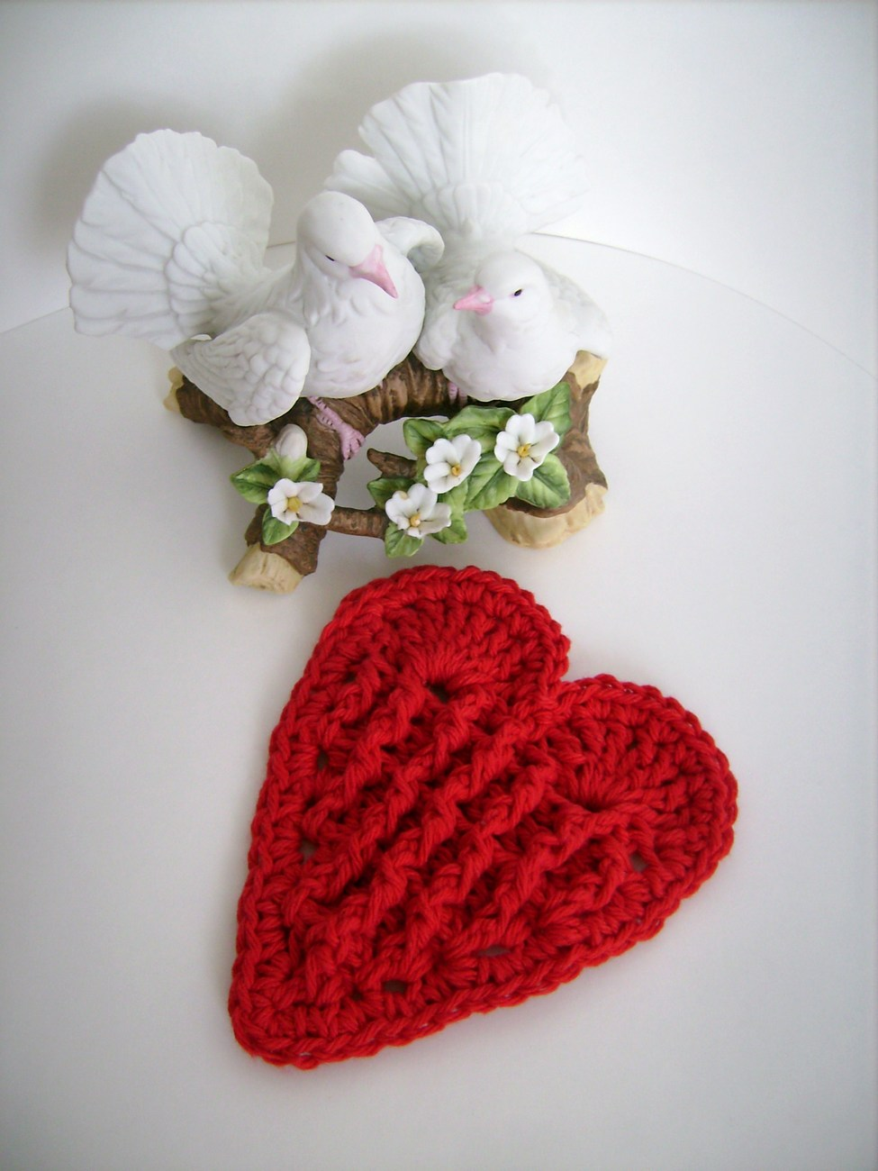 Valentine's Day Red Heart Crochet Soap Dish USA Grown Cotton