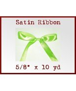Chartreuse Green Satin Sgl Face Polyester Ribbo... - $2.75