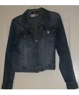 Distressed Denim Jacket Size Jr Large - $10.95
