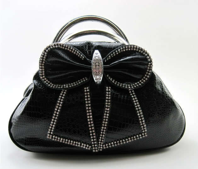 Black Bow Clutch Purse Rhinestone Evening Bag Dress Jewel Bella