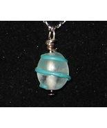 Light Blue Swirl Ball Pendant - Unique Glass Je... - $3.50