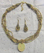 Glass Beaded Jewelry Set OOAK Ceramic Green & P... - $20.00