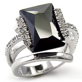 4.6CT Emerald Cut Black Anniversary Ring LC Diamond sz 9