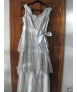 Melinda Eng  tiered Lace Gray Evening Gown Sz 1... - $810.00