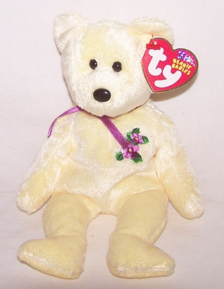 TY Retired Beanie Baby Bear Mother 10 Years Yellow May 16, 2002 Heart Swing Tag