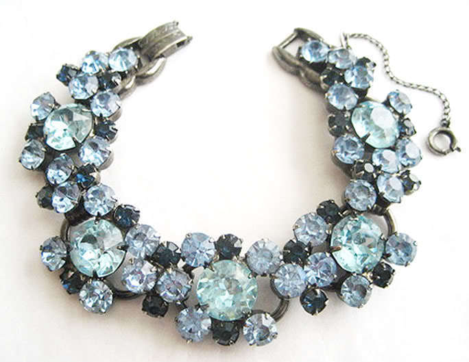 Vintage JULIANA SHADES of BLUE Crystal RHINESTONE BRACELET Gunmetal Plating D&E