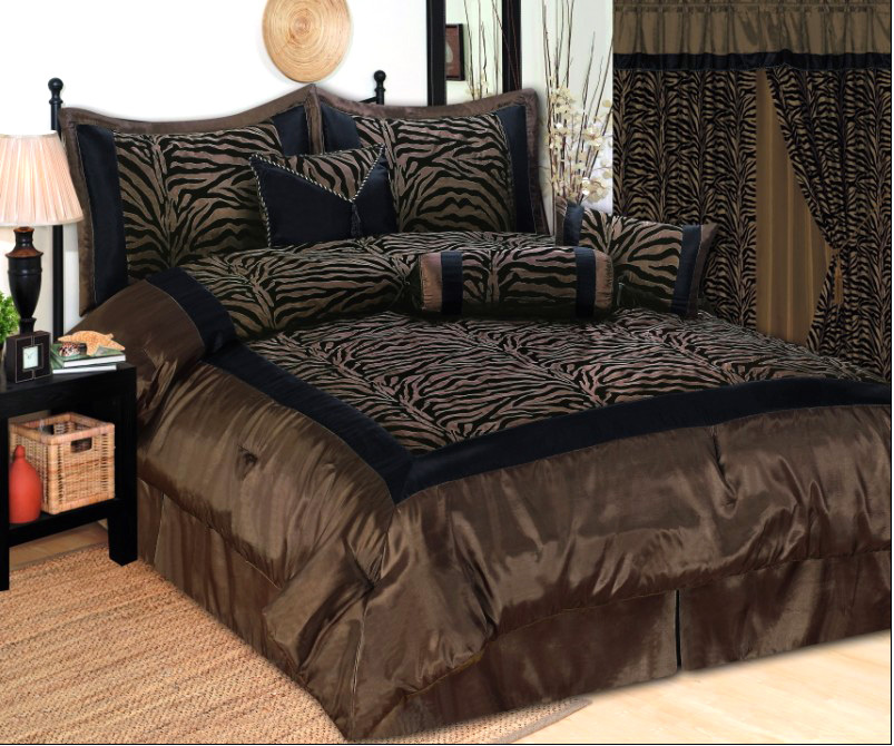 Zebra Faux Silk Satin Comforter Set Brown Black Bedding