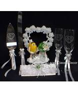 M&M M & M Wedding CAKE TOPPER Flute Knife Server LOT #2