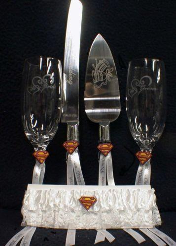 SUPERMAN Wedding lot Glasses Flute Cake Knife Server