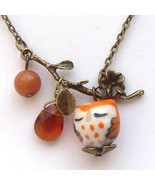 Antiqued Brass Leaf Honey Jade Quartz Porcelain Owl Necklace