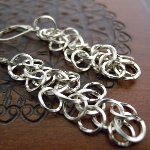 Sterling Silver fringe chainmaille earrings