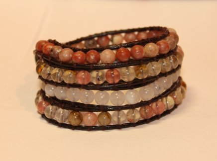 4 strand pink/white gemstone wrap bracelet on natural brown leather