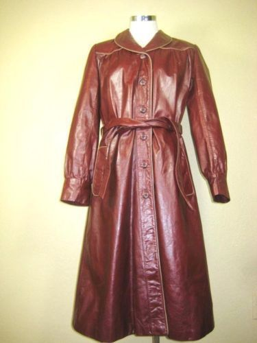 Wilson Leather Choc Brown Trench Coat Jacket sz. 5 6 7
