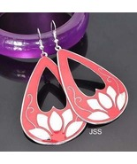 Beautiful Ruby Pink Silver Heart Cut Out Earrings - $12.95