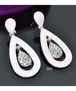 Pink Tear Drop Earrings with Dimante Dangle Cen... - $12.95