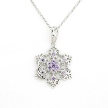 Snowflake 925 Silver Necklace Wedding Birthday ... - $89.00