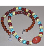 Red and Poppy Jasper Turquoise and Caramel Foss... - $47.00