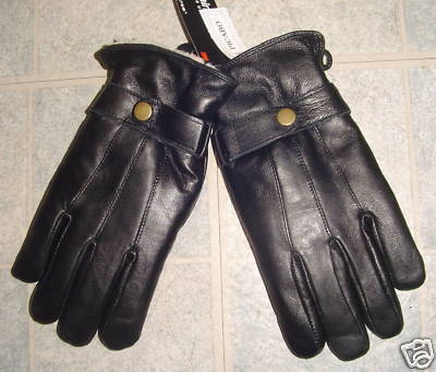 MEN BLACK GENUINE LEATHER WINTER GLOVES X-Large
