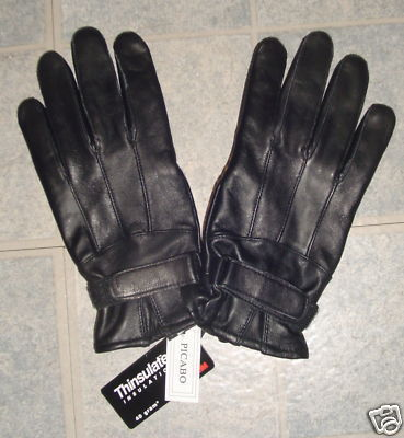 WOMEN BLACK GENUINE LEATHER WINTER GLOVES Medium