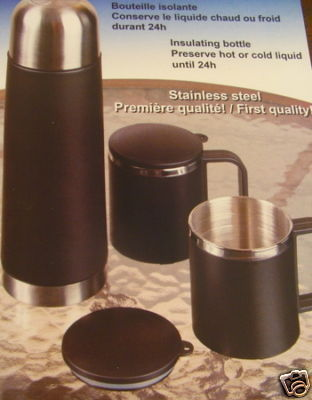 SET 4 PIECES THERMOS INSULATING BOTTLE CUP MUG w CASE
