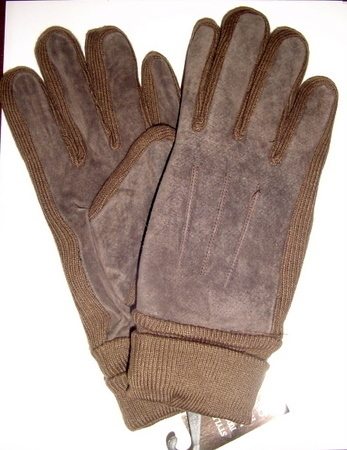 Unisex Brown GENUINE LEATHER Suede WINTER GLOVES Med