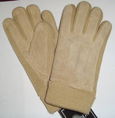 Unisex Beige GENUINE LEATHER Suede WINTER GLOVES Large