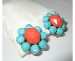 blue and orange vintage 50s clip earring plastic big