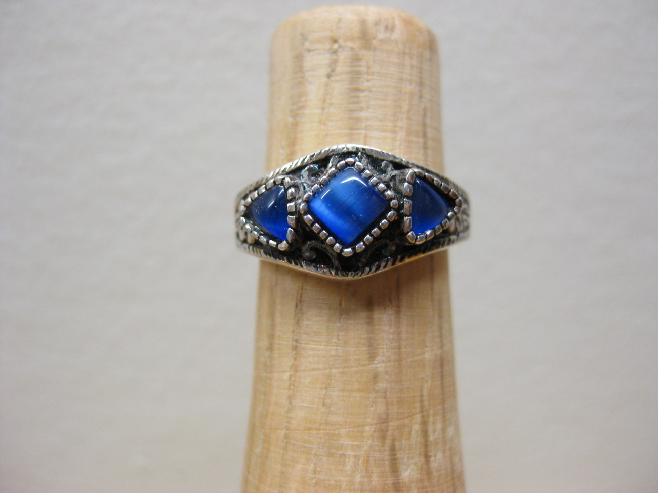 Sterling Silver Sapphire Blue Catseye Cats Eye Ring
