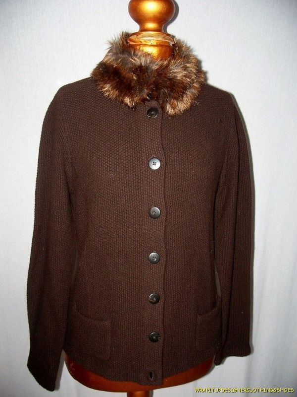Ralph Lauren Cardigan Sweater  Large Brown Knit Faux Fur Collar Button Frnt