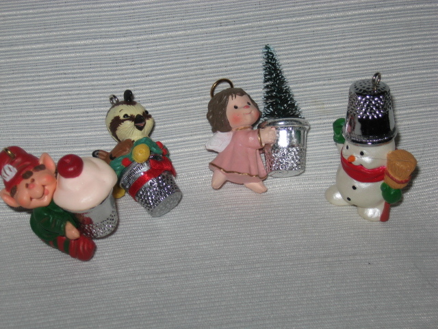 4 Hallmark Thimble Series Ornaments #4 Angel #6 Elf #9 Partridge #11 Snowman