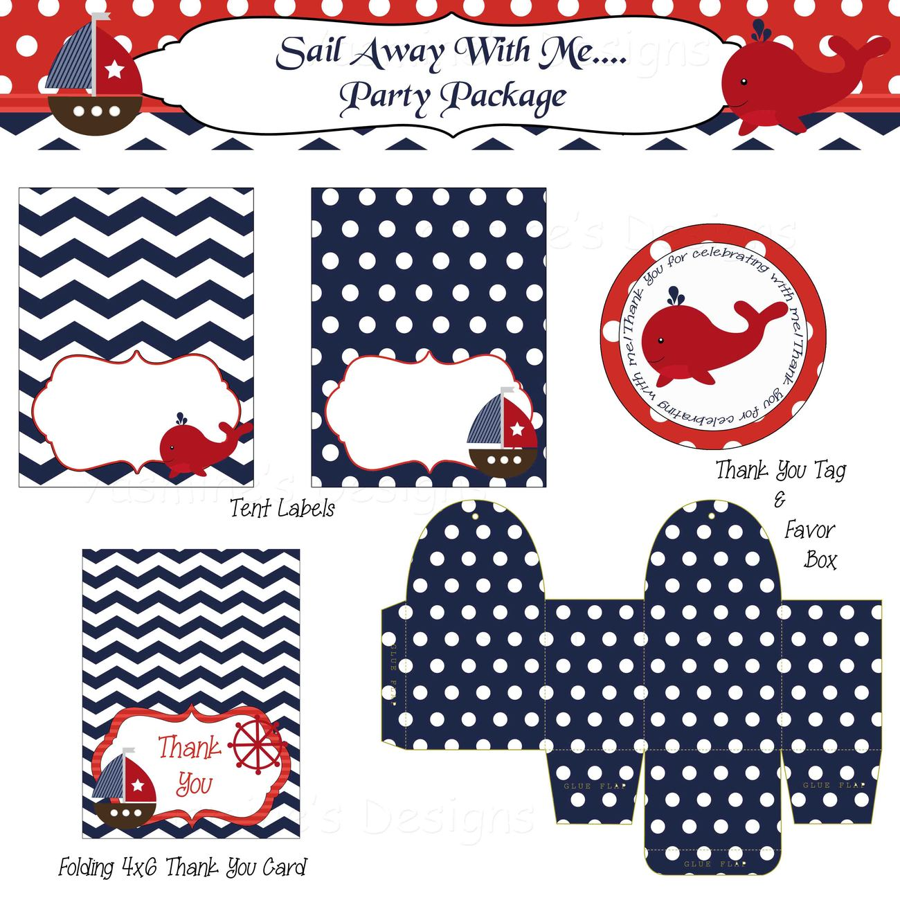 Nautical boy party package baby shower birthday for 21st birthday decoration packages