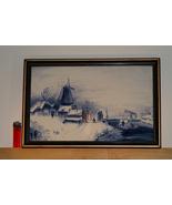 Delftware Framed Winter Landscape  - $185.00