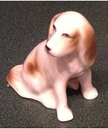 Vintage Miniature Dog Figurine White and Brown ... - $4.75