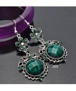 Stunning Green Flower Dangle Earrings - $12.95