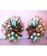Lovely Blue Cluster Flower Earrings Miriam Hask... - $11.00