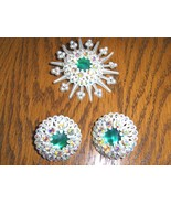 Vintage Clip On AB Earrings and Brooch Set Rhin... - $39.97