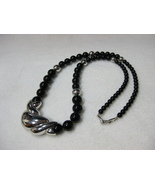 Napier Black and Silver Tone Beaded Necklace - $9.99