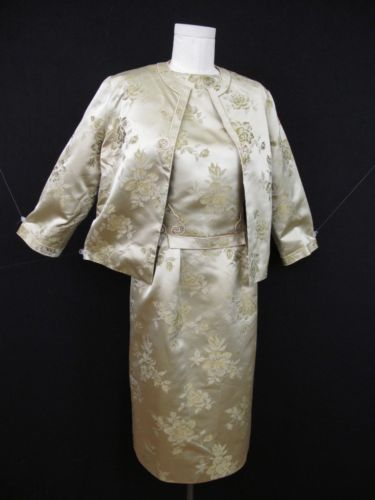 VTG 50s 60s 3-PC ASIAN SILK BROCADE DRESS JACKET SHELL SUIT MAD MEN BOMBSHELL M