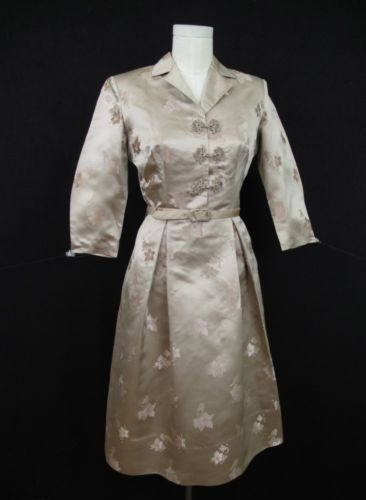 VTG 50s ASIAN HONG KONG BROCADE SATIN BOMBSHELL DRESS MAD MEN ERA HAND TAILORED