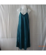 Long size 14 silk-like teal nightgown with spag... - $15.00
