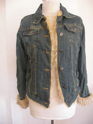 Women denim fashion jeans coat jacket faux fur sz M