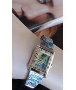 Vintage Jacques Couture Paua Shell Quartz Movement Watch Open Size Bracelet Ladi - $26.00