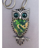 VTG JJ Jonette Owl Brooch Pendant Cabochon Eyes Body Pewter Tone Weave Body Rare