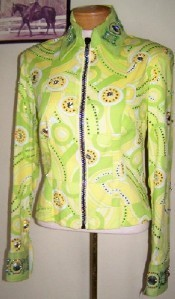 PLEASURE RAIL SHOW LEMON LIME GEOMETRIC LARGE SEW ON SWAROVSKI CRYSTAL JACKET S