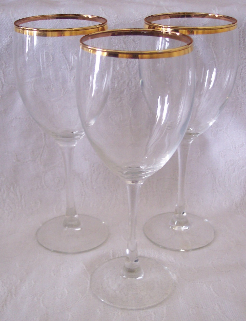 3 crystal wine set glass glasses gold band trim rim rimmed 7 3 4 tall glasses cups mugs - Lenox gold rimmed wine glasses ...