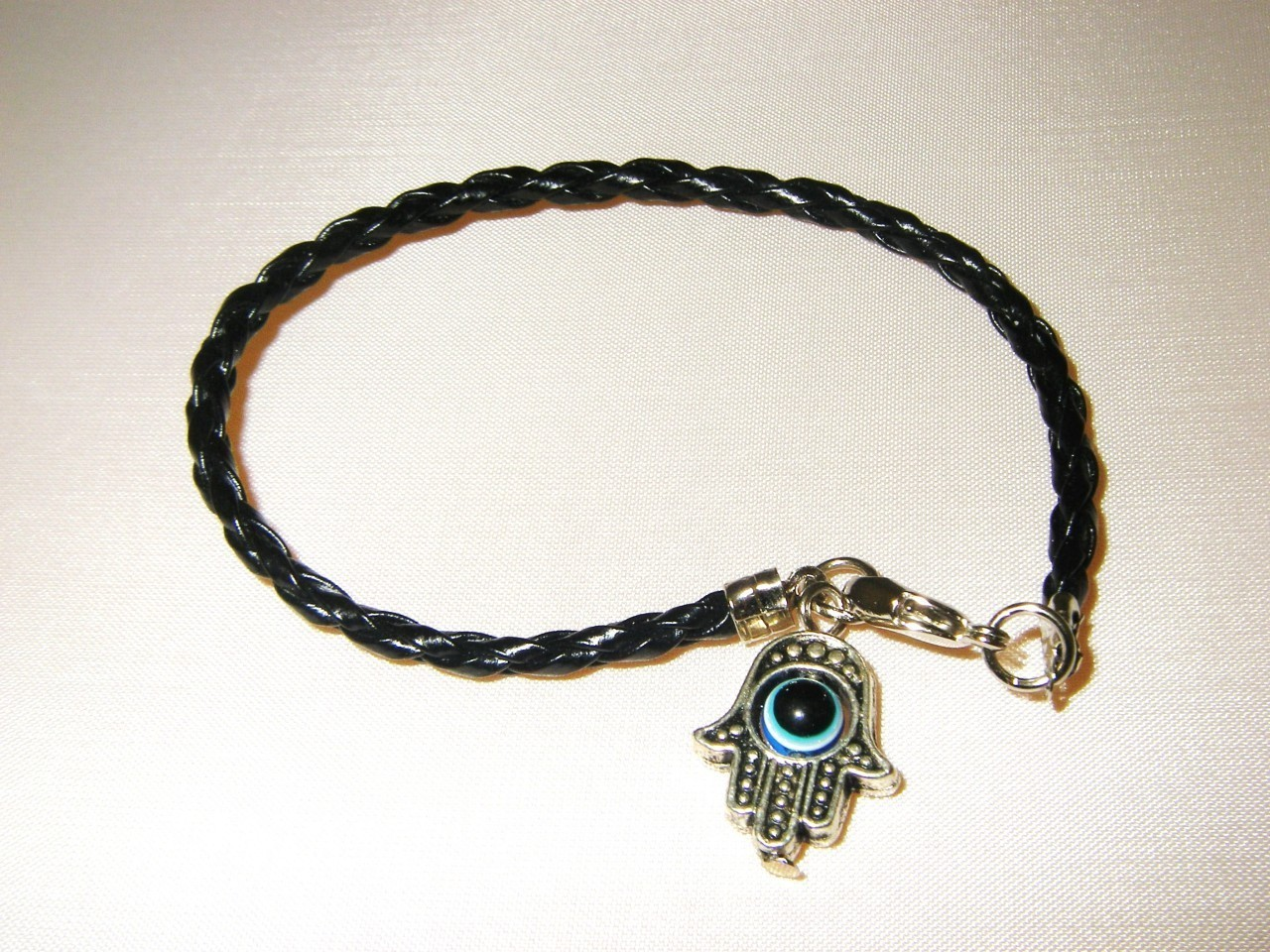 LUCKY EYE HAMSA CHARM BRACELET BLACK BRAIDED STRING 6.5""