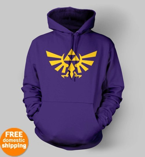 Legend of Zelda Triforce yellow logo Hoodie xbox game purple hooded sweatshirt